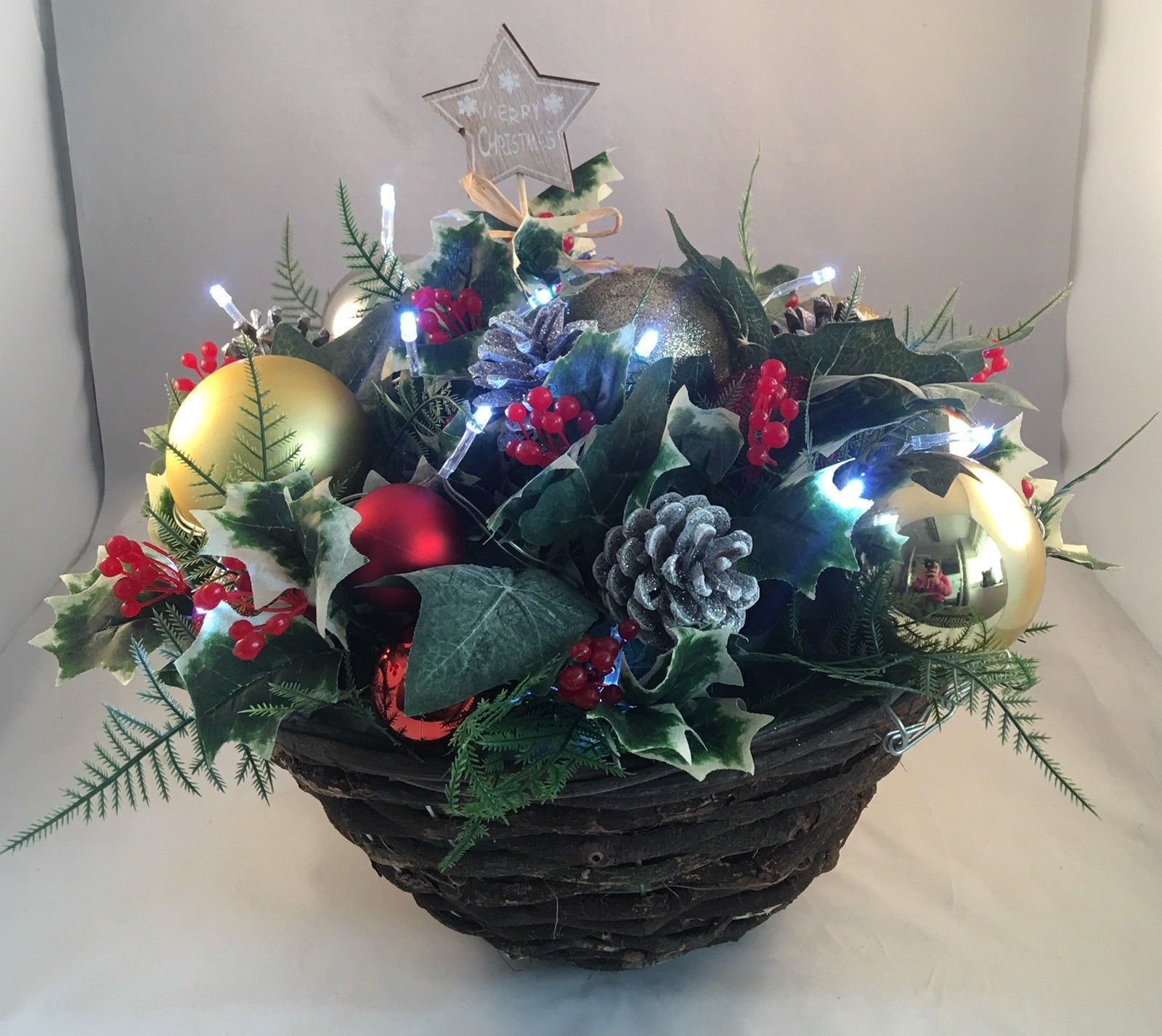 Christmas Hanging Baskets With Lights.Christmas Garden Hanging Basket Artificial Greenery Baubles